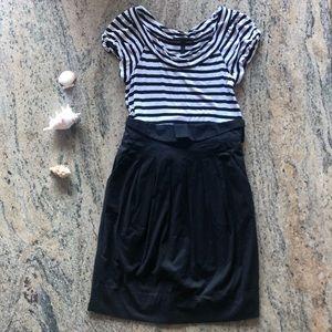 🐰 BCBGMaxazria Black White Stripe Back bow dress